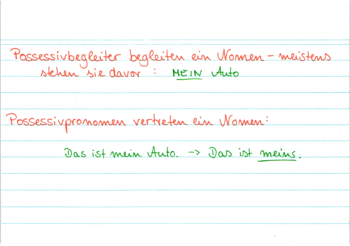 Possessivpronomen Deutsch