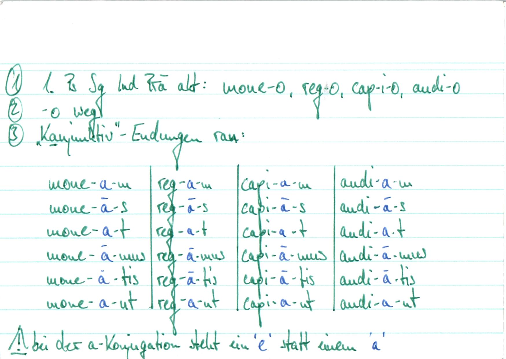 latein konjugationstabelle konjunktiv