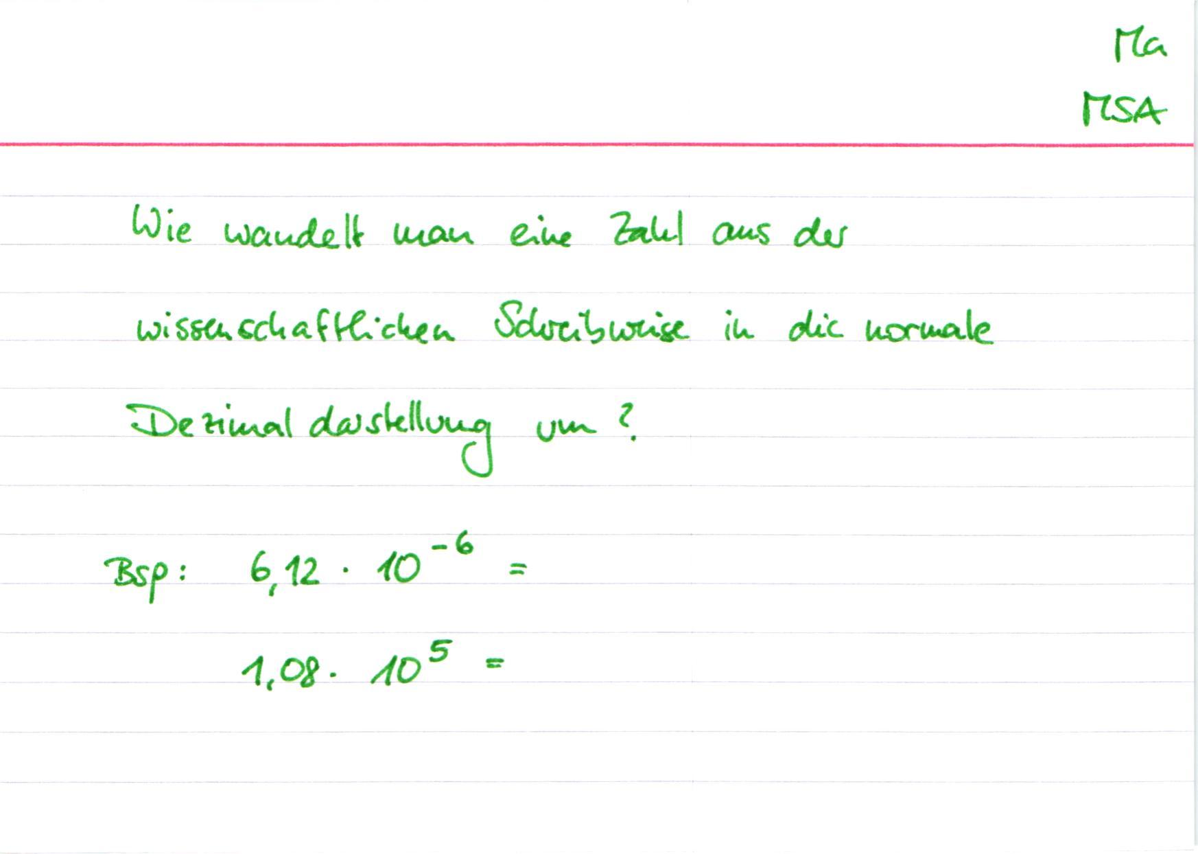 MSA Mathe Potenzen und Wurzeln