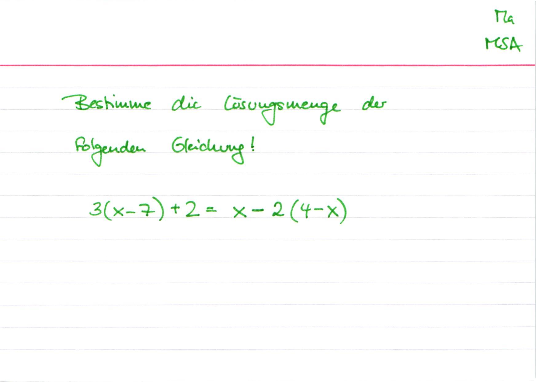 MSA Mathe Lösen von Gleichungen