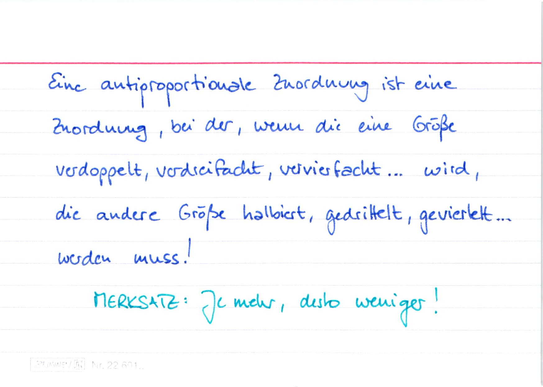 gleichung antiproportionale zuordnung